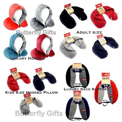 Hooded Neck Travel Pillow Kids Adults Childrens Luxury Micro bead Filled Pillow