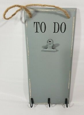 Hanging To Do List Clip Board Organizer 3 Key Rings Gray Wood Rustic Sign Decor