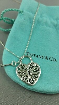 Tiffany co filigree heart with key 18 inch sterling silver tiffany medium filigree heart pendant with key 18 necklace sterling silver htf aloadofball Image collections