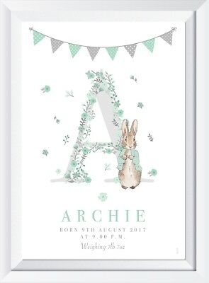 Personalised baby child Peter Rabbit name print picture gift christening nursery