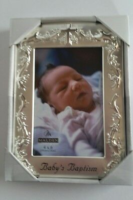 Malden Designs Baby Baptism Silver Plated Two-Tone Picture Frame 4x6 Photo Gift