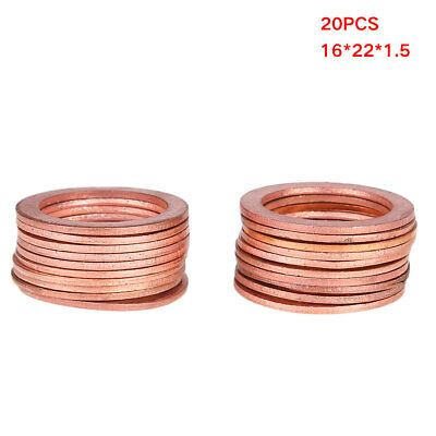 20Pcs Solid Copper Washers Sump Plug Assorted Accessories 16X22X1.5mm Rugged