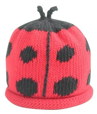 MERRY BERRIES Ladybird Hand Knitted Red 100% Cotton Baby Hat | BNWT NEW