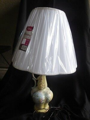 """Hand Painted Porcelain Table Lamp 26"""" tall Floral Design Fully restored"""