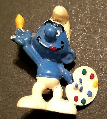 Collectible Vintage Painter Smurf Lapel Pin
