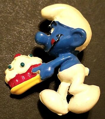Collectible Vintage Smurf with Cake Lapel Pin