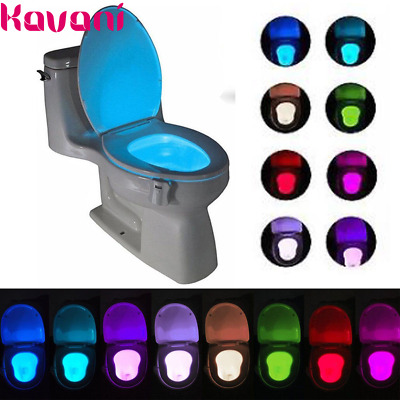 8 Color Toilet Night Light LED Motion Activated Sensor Bathroom Seat Bowl Lamp