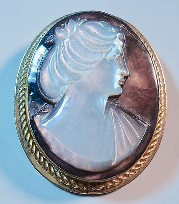 Cameo Jewelry Burt Cassell Brooch 12K Gold Filled Mother of Pearl Signed 00460