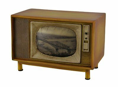 Resin Toy Banks Brown Vintage Finish Retro Console Television Coin Bank 6.75 X X