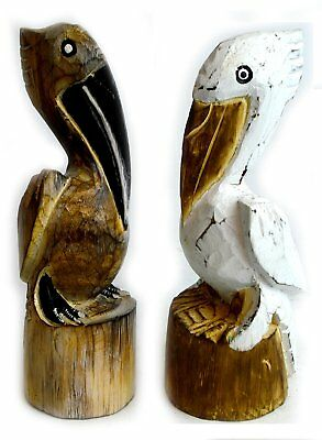Hand Carved Nautical Wooden Set of 2 Pelican Statues Brown and White Art