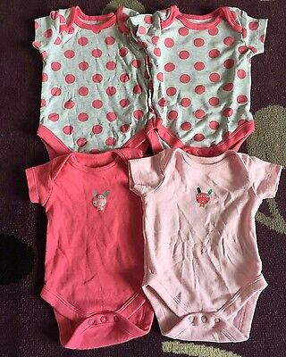 4 x Baby Girl's NewBaby/First Size Mothercare Short Sleeve Vest Bundle Job Lot