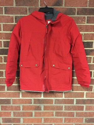 Boys Coat, size M. Land's End, Red, Winter Coat, Lined, Hooded, Grow-A-Long