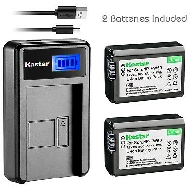 Kastar Battery and LCD Slim USB Charger for Sony NP-FW50 Alpha 7 NEX-7 a6000 A37