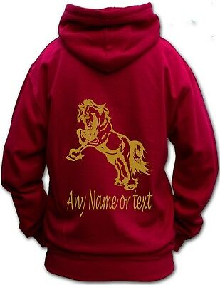 PERSONALISED HORSE RIDING HOODIE Children's Adult's GYPSY VANNER REARING COB