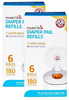 Munchkin Arm Hammer Diaper Pail Snap with Seal and Toss Refill Bags, 12 Count
