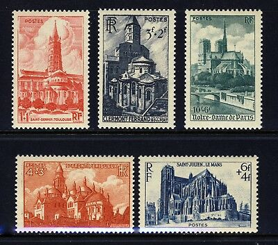 FRANCE . 1947 Cathedrals (B213-217) . Mint Never Hinged