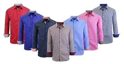 Mens Long Sleeve Shirt Slim Fit Casual Button-Down 100% Cotton Patterned