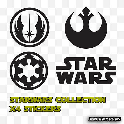 STARWARS STAR WARS COLLECTION LOGO x 4 Graphic Decal Vinyl Stickers Car Wall Art