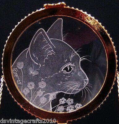 Crystal Trinket Box With Hand Engraved Optical Lens Cat Bust No.3
