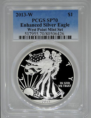 2013-W PCGS SP70 Enhanced Uncirculated Silver Eagle - Great MS Coin!