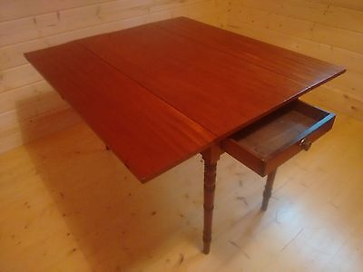 Antique Victorian Drop Leaf Pembroke Table With Single Drawer Under