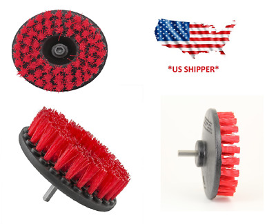 5 inch drill brush for Car care Carpet Wall and Tile cleaning HEAVY DUTY (RED)