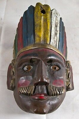 Hand Carved Wooden Mask, Painted, Glass Eyes