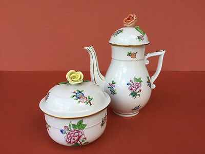 HEREND ETON antique Mocca / coffee pot & sugar bowl hand painted, osier