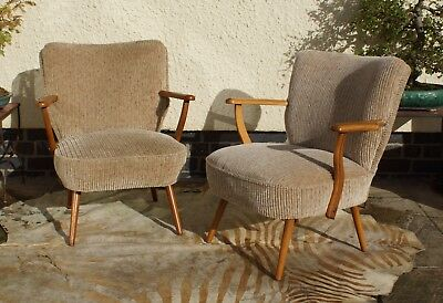 Pair Of Mid Century Vintage East German Cocktail Armchairs / Chairs 1975 Oc17-17
