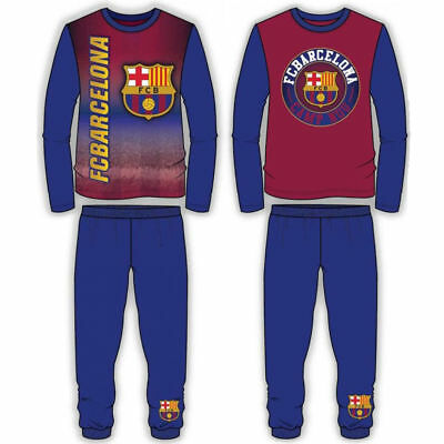 Kids Boys Official FC Barcelona Pyjamas PJ's Nightwear Pyjama Set Sleepwear