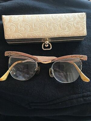 Vintage Bausch And Lomb Aluminum And 12k Gold Cat Eye Glasses And Vintage Case