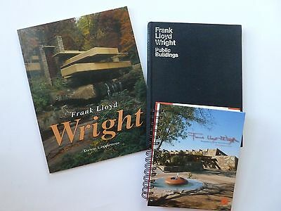 Frank Lloyd Wright 3pc Book Lot! Falling Water Architect Architecture Buildings
