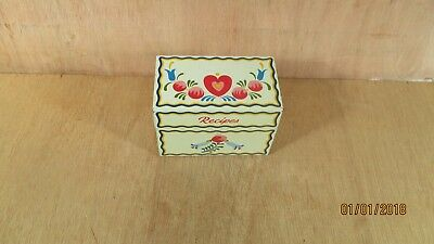Vtg. USA Ohio Art Co. Bryan Recipe Tin Box Dutch Tole Painted Heart Bell Flowers