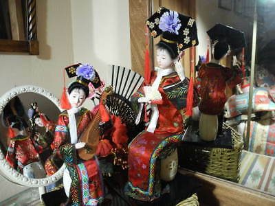 "Vtg Pair Chinese Garden Stool Geisha Type Dolls, Ladies Lacquer Stands 10"" & 14"""