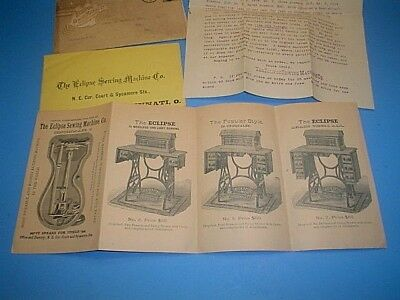 1887 Eclipse Sewing Machine Co. Letter, Brochure And Envelope