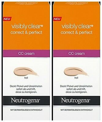 2 X Neutrogena Visibly Clear Correct & Perfect Cc Cream 50Ml .. Light..