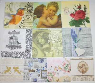 Set of 10 Paper Napkins for Decoupage Paper Crafts Flowers Floral Angel 3ply
