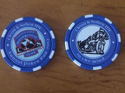 Motorcycle Poker Chip clean & sober mc Harley Oregon NA AA recovery