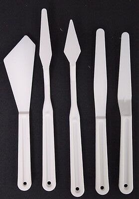5Pcs Palette Knife Tool Set - Plastic Assorted Shapes And Sizes Craft Paint