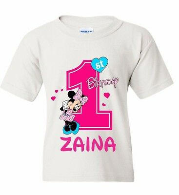 0f400b904e7d DISNEY MINNIE MOUSE Birthday Girl T-Shirt Personalized Age and Name ...