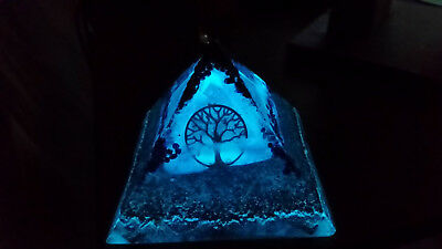 Large unique [10cm]Glowing Orgone/Orgonite Double Pyramid. tree of life