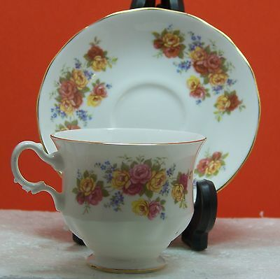 Royal vale Fine Bone China, Cup&saucer, pink & yellow roses, Made in England