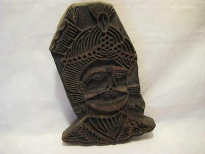 """Antique Indian Hand Carved Wooden Textile Printing Block Stamp ~ 9"""" X 6"""" X 1.75"""""""
