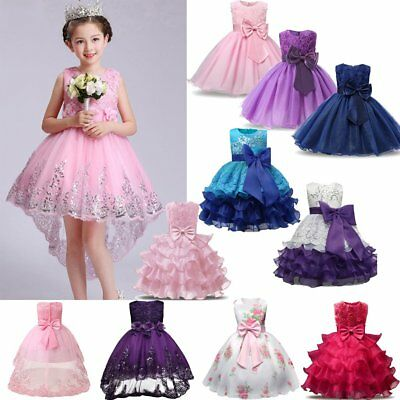 Kid Girl Flower Wedding Bridesmaid Dress Party Pageant Prom Christening Dress UK