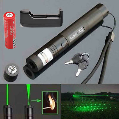 10Miles 532nm 303Green Laser Pointer Lazer Pen Visible Beam Light+18650+ChargerY