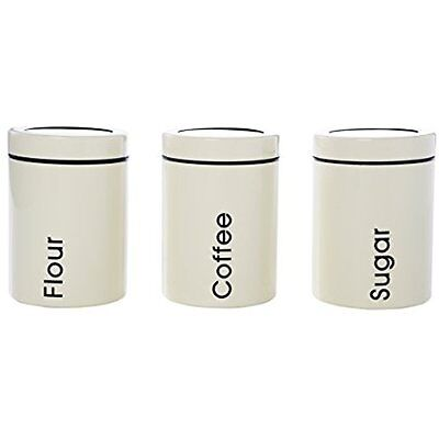 Dry Food Containers / Coffee, Sugar, & Flour Set - 3 Piece Labeled Kitchen Jars