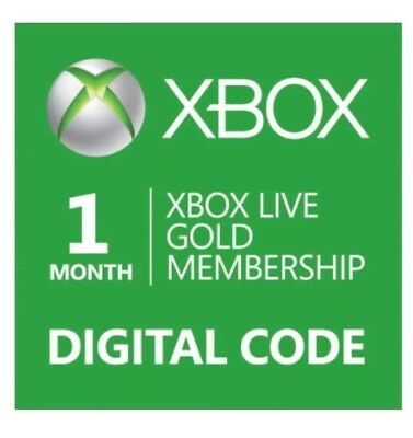 1 Month Xbox Live Gold Membership Code * ONLY EMAIL DELIVERY* 30 minutes