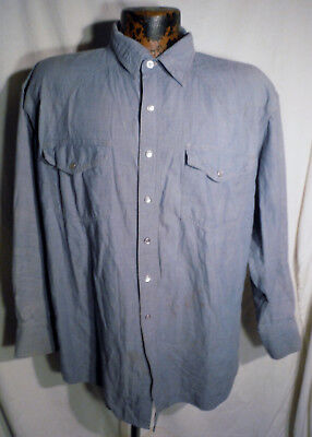 Mens Key Blue Cotton Pearl Snap Vintage Long Sleeve Chambray Western Shirt Sz Xl