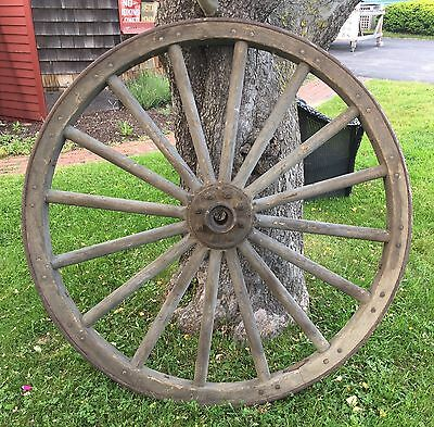 "Old Antique Original 16 Spoke Wood & Steel Wagon Wheel 55"" Heavy Farm Rustic"
