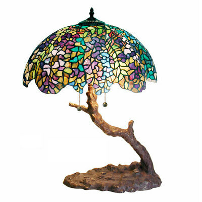 Warehouse of Tiffany Style Stained Glass Tree Accent Lamp Livingroom 25 H X 18 W